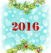 Illustration New Year Shiny Background With Wreath And Colorful Balls - Vector