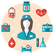 Illustration Nurse With Medical Icons For Web Design, Modern Flat Style - Vector stock vector