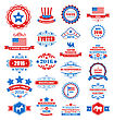 Illustration Objects And Symbols For Vote Of USA. Set Typographic Elements, Modern Labels, Frames, Ornaments - Vector