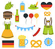 Illustration Oktoberfest Colorful Elements Isolated On White Background - Vector