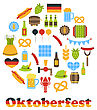 Illustration Oktoberfest Colorful Symbols In Round Frame, Isolated On White Background - Vector