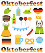 Illustration Oktoberfest Colorful Symbols Isolated On White Background - Vector