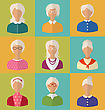 Illustration Old People Of Faces Of Women Of Grey-headed. Grandmothers Characters. Heads Of Pensioners. Females With Short And Long Hair. Cartoon Style Avatars. Flat Icons - Vector