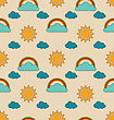 Illustration Old Seamless Pattern With Weather Symbols. Retro Background With Sun, Cloud, Rainbow - Vector