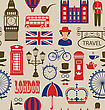 Illustration Old Seamless Texture Of Silhouettes Symbols Of Great Britain, Big Ben, Queen, Queen's Guard, Crown, Wheel, Bus, Telephone Box, Post Box, Umbrella. Vintage Wallpaper - Vector