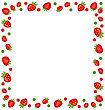 Illustration Ornamental Frame Made Of Strawberry With Copy Space For Your Text - Vector