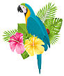 Arini Illustration Parrot Ara, Colorful Exotic Flowers Blossom And Tropical Leaves, Isolated On White Background - Vector stock vector