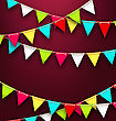 Illustration Party Background With Colorful Bunting Flags For Holidays. Bright Template For Poster, Postcard, Flyer - Vector stock illustration
