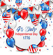 Illustration Party Background With Traditional American Colors With Greeting Card, Colorful Bunting, Balloons And Confetti - Vector