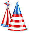 Illustration Party Hats With Flag Of The United States Of America. Accessory For American Holidays. Objects Isolated On White Background - Vector