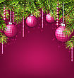 Illustration Pink Wallpaper With Fir Twigs And Glassy Balls For Happy Winter Holidays - Vector