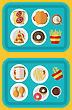 Illustration Plastic Trays With Fast Food (Cheeseburger, French Fries, Bread, Pizza, Chiken Legs, Donuts) And Drinks - Vector