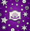 Illustration Purple Abstract Celebration Card With Silver Stars And Decoration For Merry Christmas - Vector
