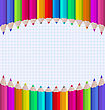 Illustration Rainbow Of Pencils On Paper Sheet Background - Vector
