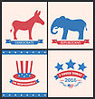Illustration Retro Cards For Advertise Of United States Political Parties. Vintage Flyers With Donkey And Elephant. Vote 2016 - Vector