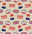 Illustration Retro Seamless Texture Of Silhouettes Symbols Of Great Britain - Vector