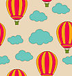 Illustration Retro Seamless Travel Pattern Of Air Balloons And Clouds. Vintage Background - Vector