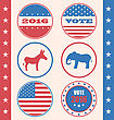 Illustration Retro Style Of Button For Vote Or Voting Campaign Election. Set Vintage Badge With Symbols Of United States Political Parties - Vector