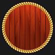 Illustration Round Wooden Frame With Rope Isolated On Dark Background - Vector