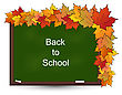 Illustration School Board With Maple Leaves, Back To School - Vector stock illustration