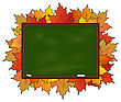 Illustration School Board With Maple Leaves Isolated - Vector