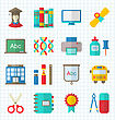 Illustration School Colorful Simple Icons, Objects And Elements For Education - Vector