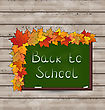 Illustration School Green Board With Leaves On Wooden Texture - Vector