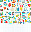 Illustration School Wallpaper With Place For Your Text, Education Simple Colorful Objects - Vector