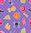 Illustration Seamless Abstract Pattern With Cartoon Colorful Halloween Symbols - Vector