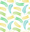 Illustration Seamless Background With Leaves Of Palm Tree. Summer Pattern - Vector