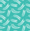Illustration Seamless Background With Silhouettes Leaves Of Palm Tree - Vector