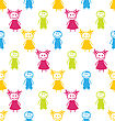 Illustration Seamless Background With Smiling Kids. Funny Colorful Pattern - Vector