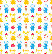Illustration Seamless Background With Smiling Kids With Ice Cream, Apples. Funny Colorful Pattern - Vector