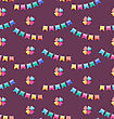 Illustration Seamless Funny Texture With Colorful Buntings For Holiday - Vector