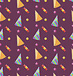 Illustration Seamless Funny Texture With Party Hats And Sweets, Holiday Wallpaper - Vector