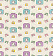 Illustration Seamless Hipster Background With Cameras, Vintage Pattern - Vector