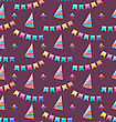 Illustration Seamless Holiday Pattern With Colorful Buntings And Party Hats - Vector