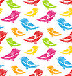 Illustration Seamless Pattern With Abstract Colorful Birds - Vector stock vector