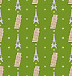 Illustration Seamless Pattern Of The Architectural Symbols, Famous Landmarks Leaning And Eiffel Towers. Vintage Texture - Vector