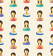 Illustration Seamless Pattern Avatars Front Portraits Of Females - Vector