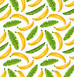 Illustration Seamless Pattern With Banana Leaves And Fruits. Food Background - Vector