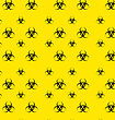 Illustration Seamless Pattern With Bio Hazard Signs, Wallpaper Danger Symbols Warning - Vector