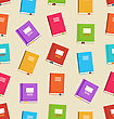 Illustration Seamless Pattern Of Books For Education, Colorful Flat Icons Of Textbooks - Vector