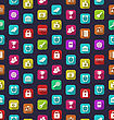 Illustration Seamless Pattern With Business And Financial Colorful Icons - Vector