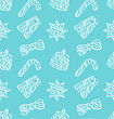 Illustration Seamless Pattern With Christmas Traditional Elements, Doodle Style - Vector