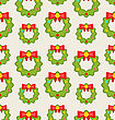 Illustration Seamless Pattern With Christmas Wreathes, Nature Texture - Vector
