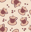 Illustration Seamless Pattern With Coffee Cups And Beans - Vector