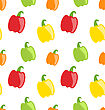 Illustration Seamless Pattern With Colorful Bell Peppers - Vector