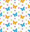 Illustration Seamless Pattern With Colorful Butterflies, Repeating Backdrop - Vector