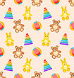 Illustration Seamless Pattern With Colorful Children Toys. Funny Background With Rabbits, Bears, Pyramids, Balls - Vector